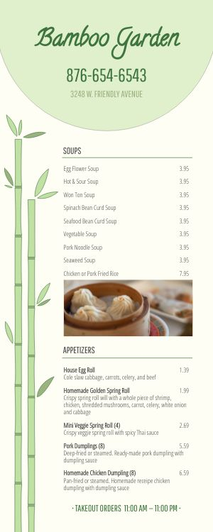 Fresh Takeout Menu