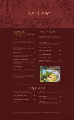 Thai Leaf Menu