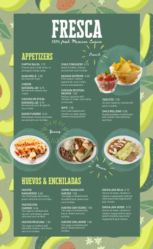 Guacamole Mexican Menu