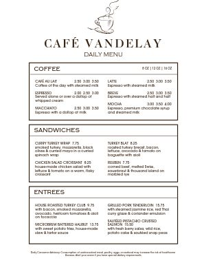 Cafe Ticket Menu
