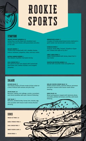 Burger Starters Sports Bar Menu
