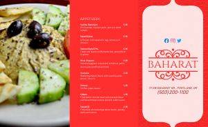 Middle Eastern Takeout Menu Example
