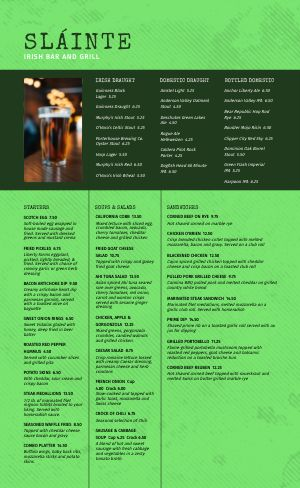 Green Irish Menu