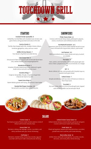 Sports Bar Sample Menu