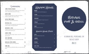 Sandwich Pub Takeout Menu