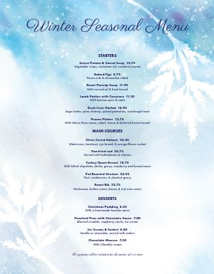 Winter Chill Holiday Menu