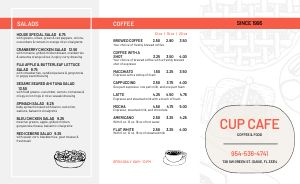 Sample Lunch Cafe Takeout Menu