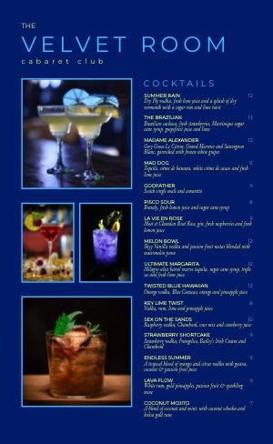 Night Club Menu Inspiration