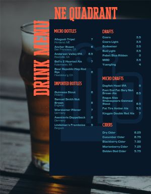 Bottled Beer Bar Menu