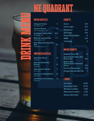 Bottled Beer Bar Menu
