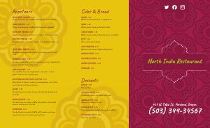 Indian Takeout Menu Example