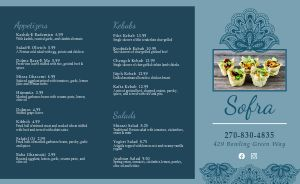 Elegant Blue Middle Eastern Takeout Menu
