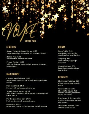 Glittery New Years Menu