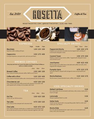Coffee Food Truck Menu Poster