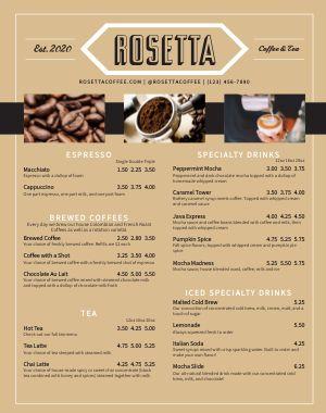 Coffee Food Truck Menu Poster