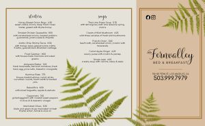 Bed and Breakfast Dining Takeout Menu
