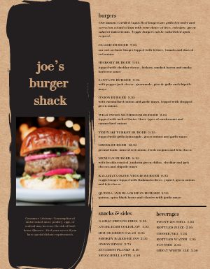 Burger Shack Menu