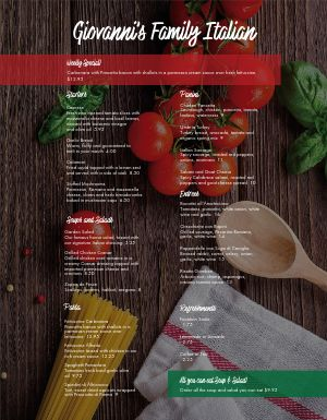 Italian Ingredients Family Menu