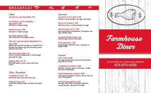 Farmhouse Diner Takeout Menu