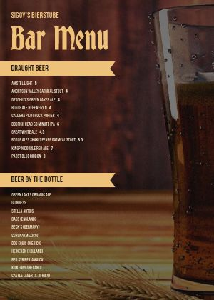 Pint Glass Bar A4 Menu