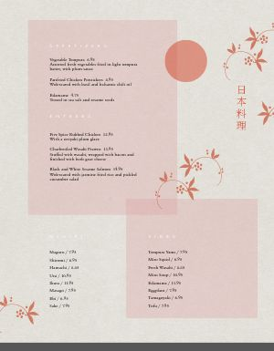 Plain Japanese Menu