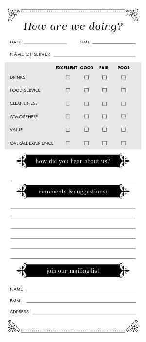 Club Comment Card