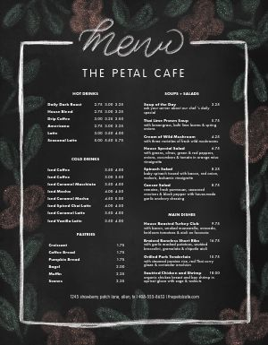 Chalk Flowers Cafe Menu