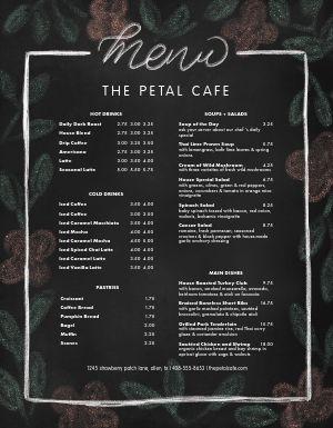 Chalk Flowers Cafe Menu