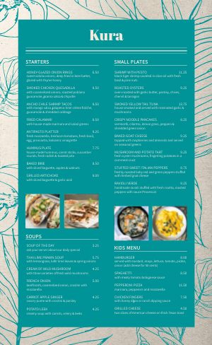 Floral Cafe Menu Sample