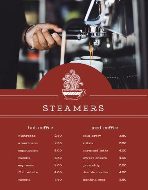 Morning Coffee Menu