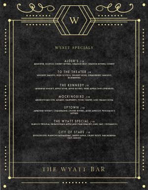 Theater Bar Menu
