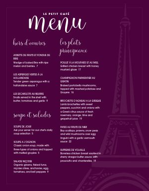 French Parisian Cafe Menu