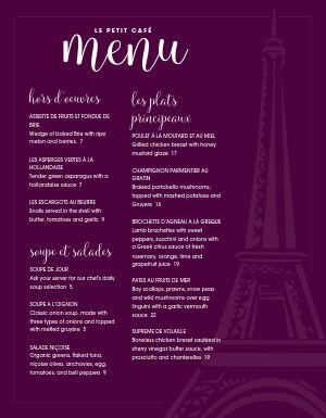 French Parisian Cafe Menu