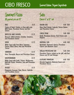 Fresh Italian Pizza Menu