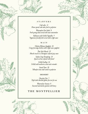Flowery Fine Dining Menu