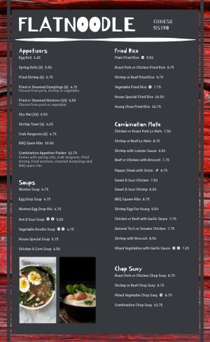 Chinese Menu Sample
