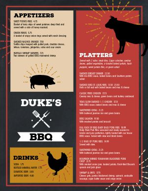 Farmhouse BBQ Menu