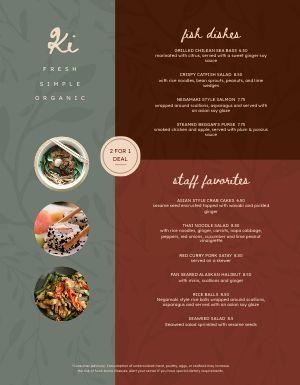 Organic Thai Menu