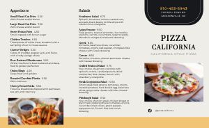 California Style Pizza Takeout Menu