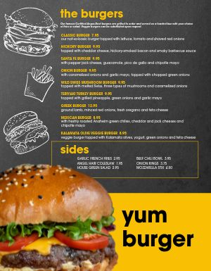 Blackboard Burger Menu
