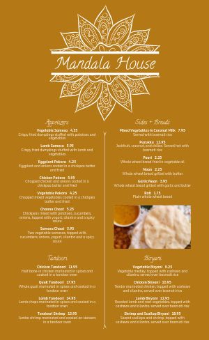Casual Indian Cuisine Menu