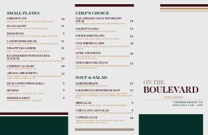 Fine Dining Steaks Folded Menu