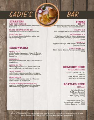 Wood Panel Bar Menu