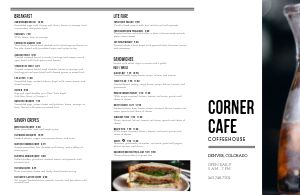 Example Coffeehouse Folded Menu