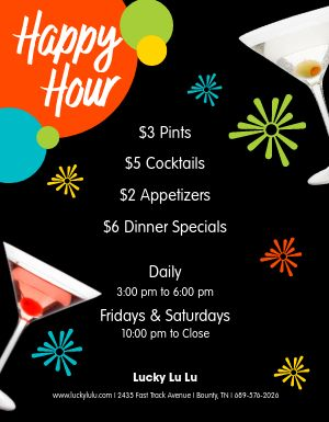 Happy Hour Fireworks Flyer