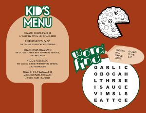 Pizza Oven Kids Menu