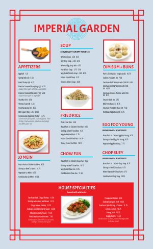 Blue Chinese Menu