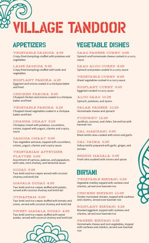 Tandoor Indian Menu