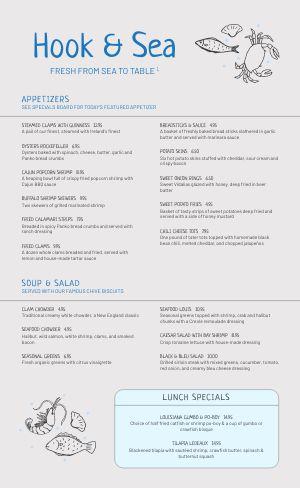 Simple Seafood Menu Sample