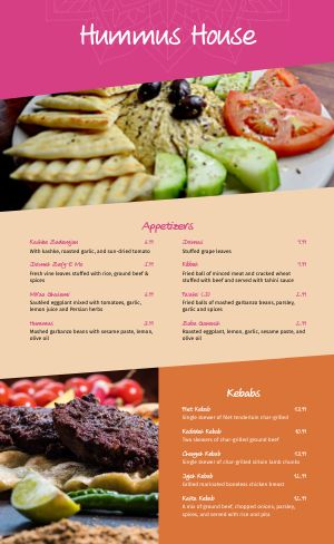 Hummus Middle Eastern Menu